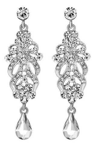 Fashion Elegant Original Silver Color Crystal Wedding Long Earrings Floral Shape Chandelier Earrings For Women Brides Bridesmaid-JetSet-JetSet
