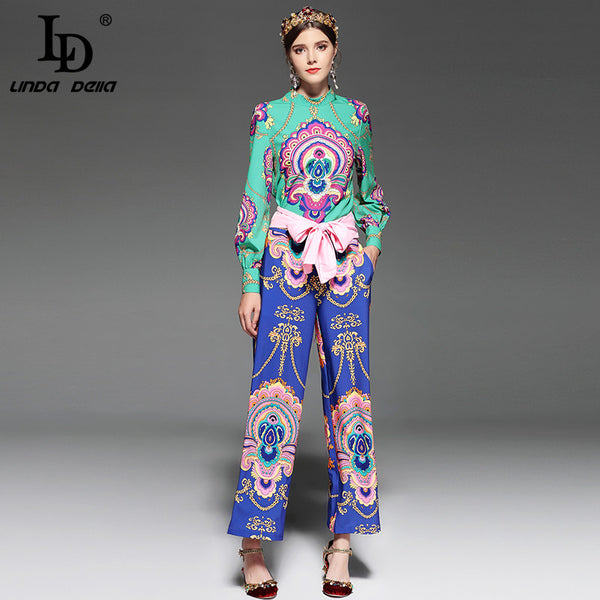 LD LINDA DELLA Runway Designer Vintage Two Piece Suits Women's Sets Long Sleeve Top and Floral Print Loose Pants Suit-JetSet-JetSet