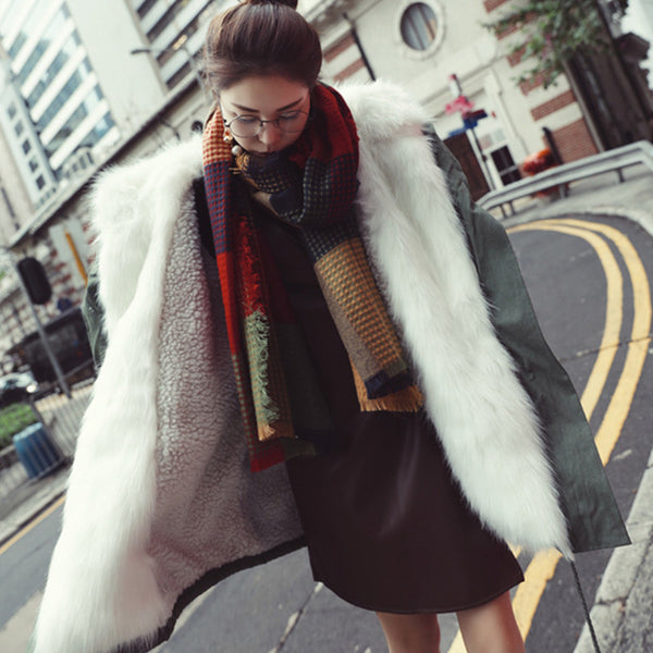 Korean Big Imitation Fox Fur Collar Long Solid Color Coat Lamb Cashmere Padded Cotton Warm Jacket Mujer Winter Parkas MZ2037-JetSet-JetSet