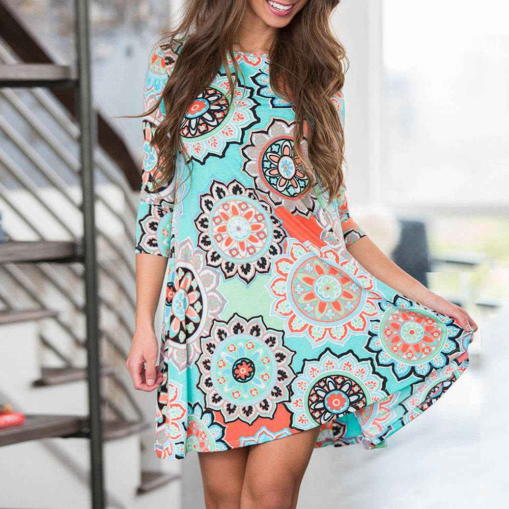 Womens Summer Cotton Boho Party Beach Floral Dress-JetSet-JetSet