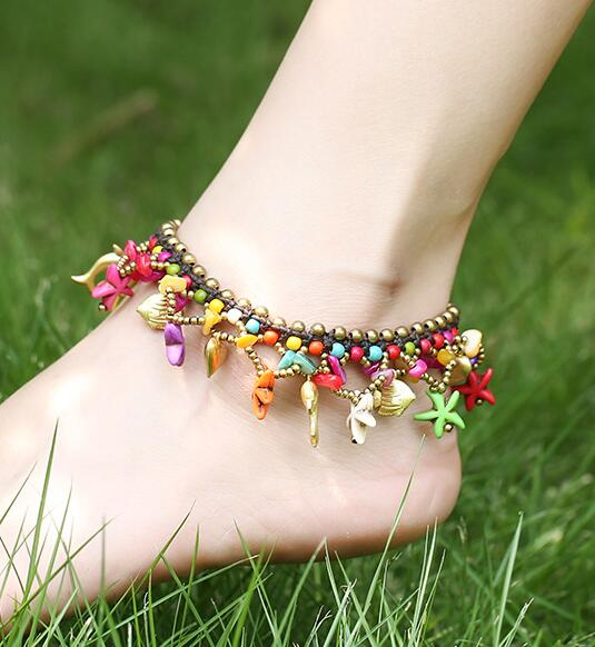 New Bohemian Starfish Dolphin Beads Bell Anklets For Women Boho Stone Beads Sandals Chain Ankle Bracelet on the leg Foot Jewelry-JetSet-JetSet
