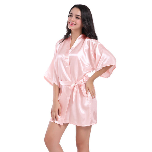 RB032 2018 New Silk Kimono Robe Bathrobe Women Silk Bridesmaid Robes Sexy Navy Blue Robes Satin Robe Ladies Dressing Gowns-JetSet-JetSet