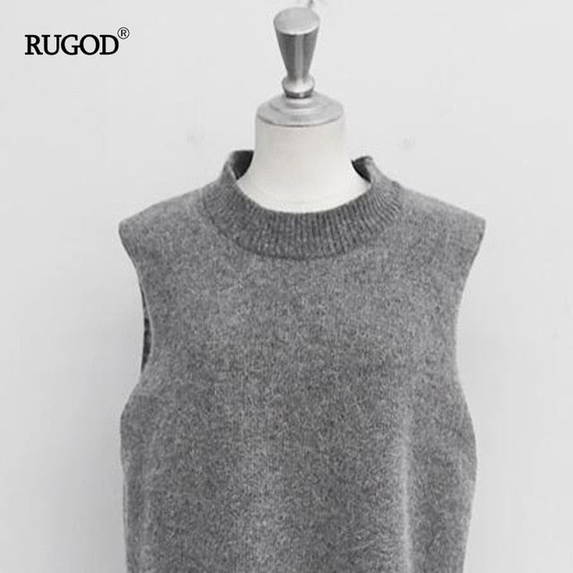 RUGOD Vest New Women Vest Pretty Sleeveless O-Neck Rabbit Hair Knitted Vest Women Plus Size 2XL 3XL 4XL Veste Femme-JetSet-JetSet
