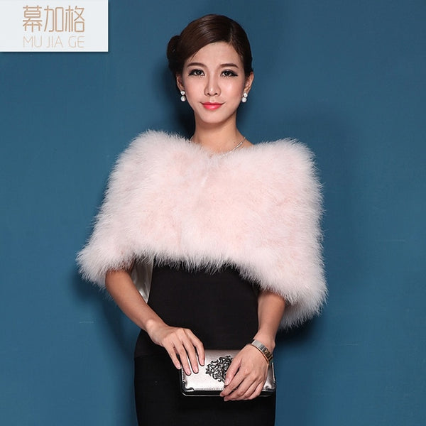Autumn and winter ostrich fur shawl the bride wedding dress bridesmaid wedding wrap turkey fur cape outerwear female-JetSet-JetSet