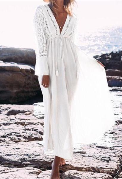 Boho Deep V Neck Hollow Out Long Dress Women Plus Size Summer Beach Tunic White Cotton Sexy A Line Long Dress Vestidos #N274-JetSet-JetSet