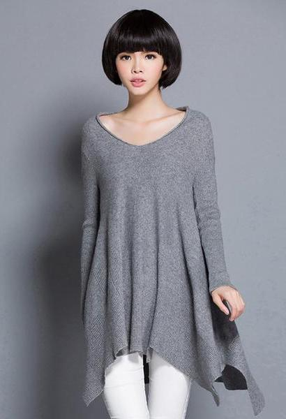 2018 New European 100% Pure Mink Cashmere Loose Asymmetrical Deep V Neck Women Female Casual Pullover Sweater STOCK CLEAR PRICE-JetSet-JetSet