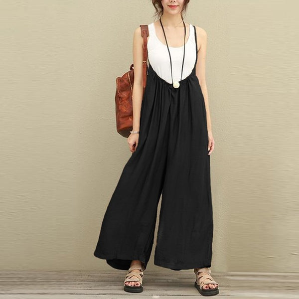ZANZEA Women Overalls Wide Leg Pants Vocation Dungarees Casual Cotton Linen Jumpsuits Long Trousers Plus Size S-5XL Rompers-JetSet-JetSet