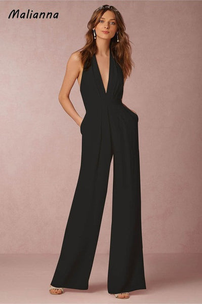 Elegant Deep V-Neck Sleeveless Summer Slim Sashes Pockets Jumpsuit Rompers Women Backless Zipper Wide Overalls Fashion Femme-JetSet-JetSet