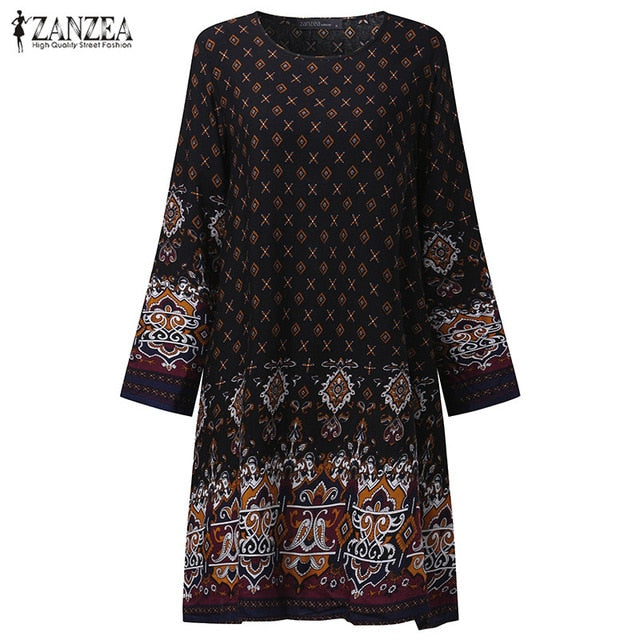 2018 Summer ZANZEA Plus Sizes Women Vestidos Floral Print Vintage Mini Dress O-Neck Long Sleeve Loose Casual Sundress-JetSet-JetSet