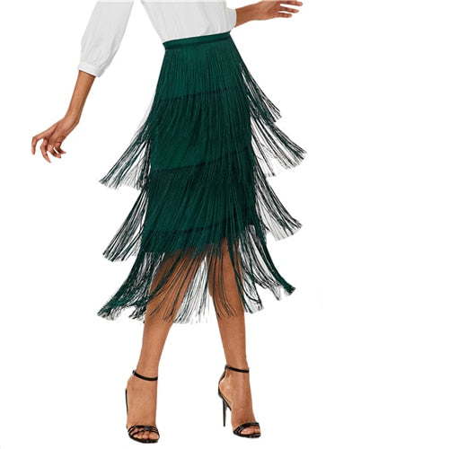 Sheinside Green Tiered Fringe Pencil Skirt Women Plain High Waist Tassel Skirt 2018 Summer Office Vintage Elegant Midi Skirt-JetSet-JetSet
