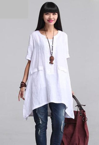 2018 ZANZEA Women Vintage O Neck Short Sleeve Cotton Linen Solid Blouse Loose Summer Brief Irregular Hem Shirt Tops Plus Size-JetSet-JetSet