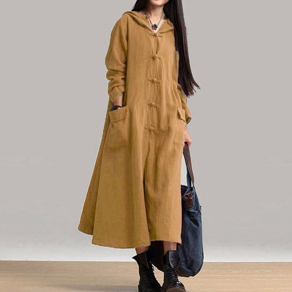 ZANZEA Women Hooded Dress Vintage Casual Loose Long Dresses Ladies V Neck Long Sleeve Cotton Vestidos Plus Size-JetSet-JetSet