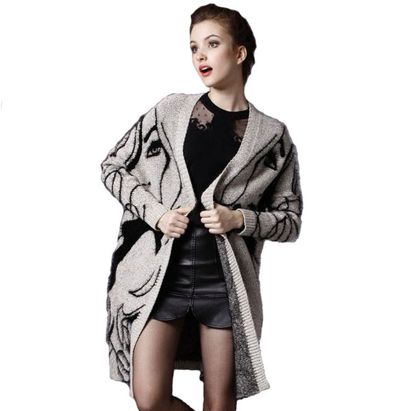 HEE GRAND 2018 New Character Print Medium Length Women Cardigans Plus Size Casual Oversize Scarf Drop Shoulder Sweater WZL1085-JetSet-JetSet