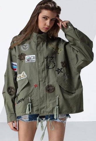 CHICEVER Embroidery Diamonds Lace Up Women Jacket Female Coat 2018 Spring Vintage Loose Big Size Coats Armygreen Overcoat Casual-JetSet-JetSet