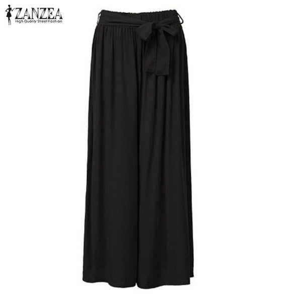 ZANZEA Fashion Elastic Waist Trousers Summer 2018 Women Casual Loose Wide Leg Pants Casual Cotton Long Pants Plus Size M-5XL-JetSet-JetSet