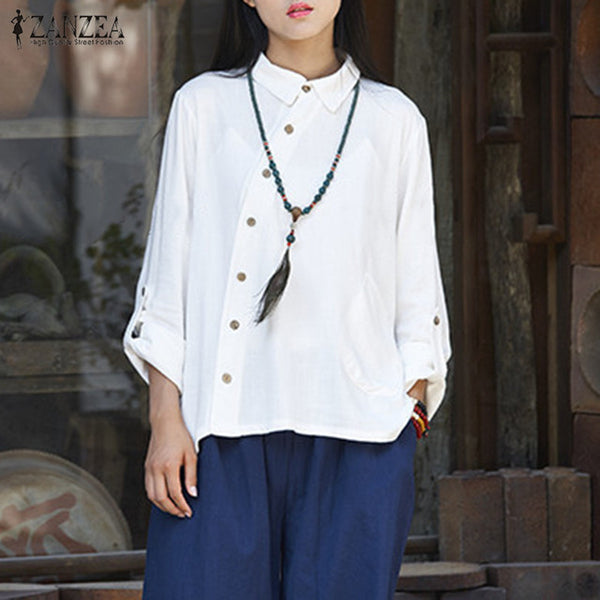 ZANZEA 2019 Fashion Women Long Sleeve Blouse Blusas Buttons Down Lapel Neck Black Shirt Autumn Cotton Linen Basic Tops Plus Size-JetSet-JetSet