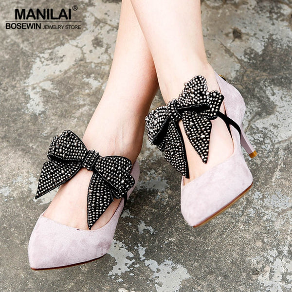 MANILAI 2 Pcs/Pair Vintage Beaded Big Bowknot Anklets Bracelet Shoes Accessories Handmade Foot Jewelry Elastic Charm Anklet-JetSet-JetSet