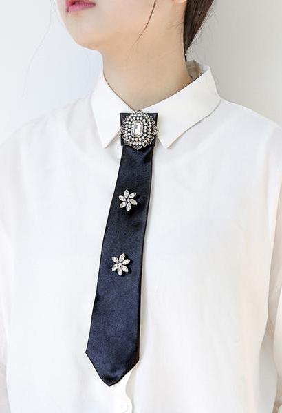 MANILAI 4 Colors Luxury Big Crystal Shirt Bow Tie Brooches Pin Long Collar Fashion Wedding Jewelry Clothes Accessories-JetSet-JetSet