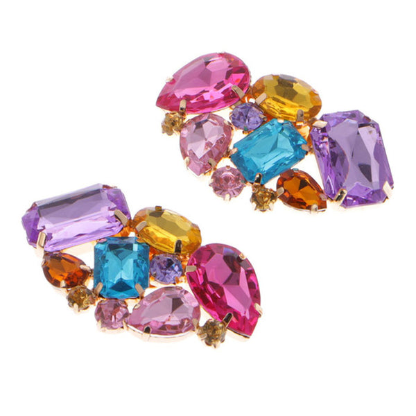 KLV 1 Couple Cargo free lady color flower shoe buckle Strass crystal decorations clips shoe charms accessories-JetSet-JetSet