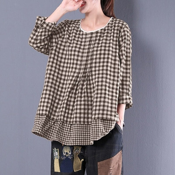 2018 Women Long Sleeve Plaid Check Fake Two Pieces Baggy Blouse Lace Crochet Cotton Linen Ruffles Shirt Oversized Top-JetSet-JetSet
