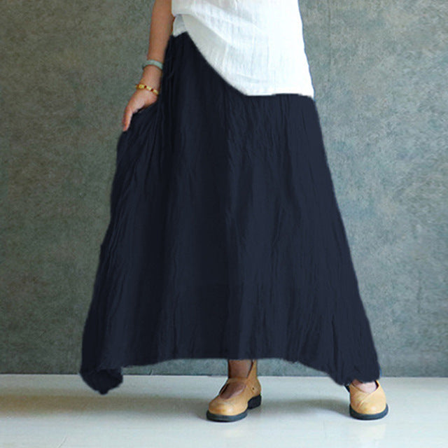 9f0d79ed2 ... Celmia 2018 Summer Women Vintage Linen Skirts Casual Loose Solid Long  Skirt Elastic Waist Beach Pleated ...