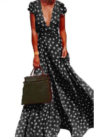 2018 ZANZEA Summer Dress Women Polka Dot Deep V Neck Short Sleeve Split Party Beach Maxi Long Dress Vestido Sundress Plus Size-JetSet-JetSet