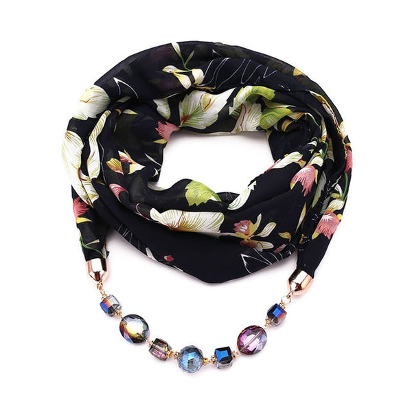 RUNMEIFA Decorative Jewelry Scarf Chiffon Necklace Resin Beads Pendant Women Scarf Fresh Spring/Autumn Muslim Head Scarves Hijab-JetSet-JetSet