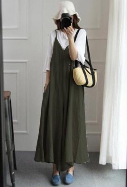 ZANZEA Summer Women Strappy V Neck Wide Leg Pants Casual Jumpsuits Rompers Cotton Linen Bib Overalls Loose Dungarees Plus Size-JetSet-JetSet