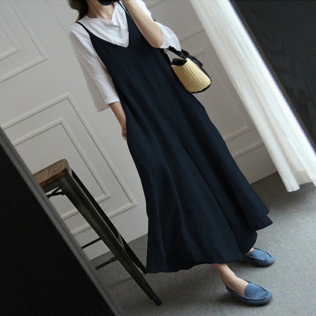 1f71495c9ad ... Loose Dungarees Plus Size. ZANZEA Summer Women Strappy V Neck Wide Leg  Pants Casual Jumpsuits Rompers Cotton Linen Bib Overalls