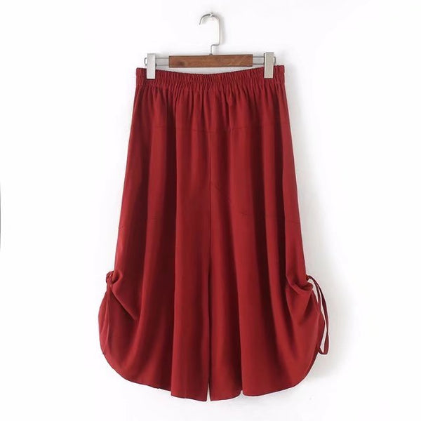 Plus size 2018 summer Solid color high waist cotton linen pantalon femme elastic waist wide leg pants calf-length trousers women-JetSet-JetSet