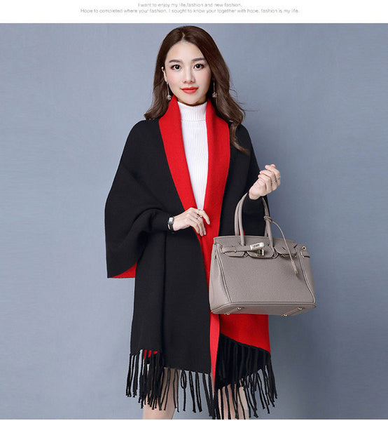2018 Autumn New Women's Elegant Socialite Cashmere Tassel Cardigan Sweaters Batwing Sleeves Scarf Cape Outwear Good Quality-JetSet-JetSet