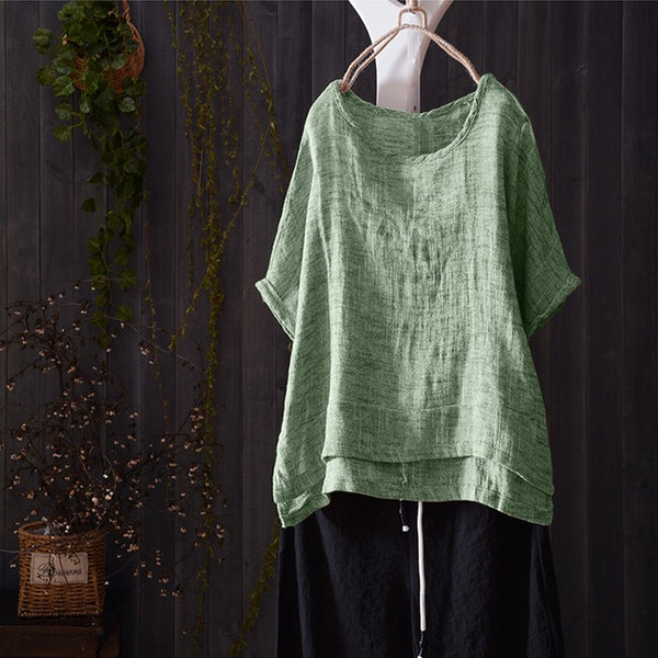 ZANZEA Summer Women O Neck Short Batwing Sleeve Blouse Casual Solid Shirt Vintage Cotton Linen Loose Top Blusas Plus Size-JetSet-JetSet