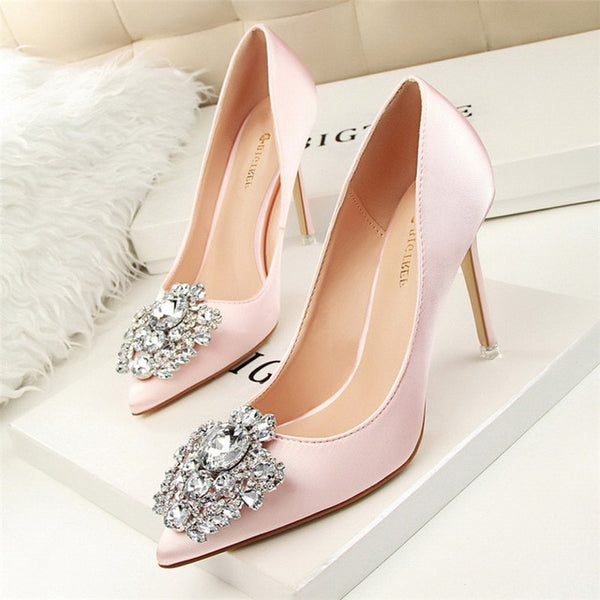 BIGTREE Silver Gray Black Women Bridal Wedding Shoes Faux Silk Satin Rhinestone Crystal Shallow Woman Pumps Stiletto High Heel-JetSet-JetSet