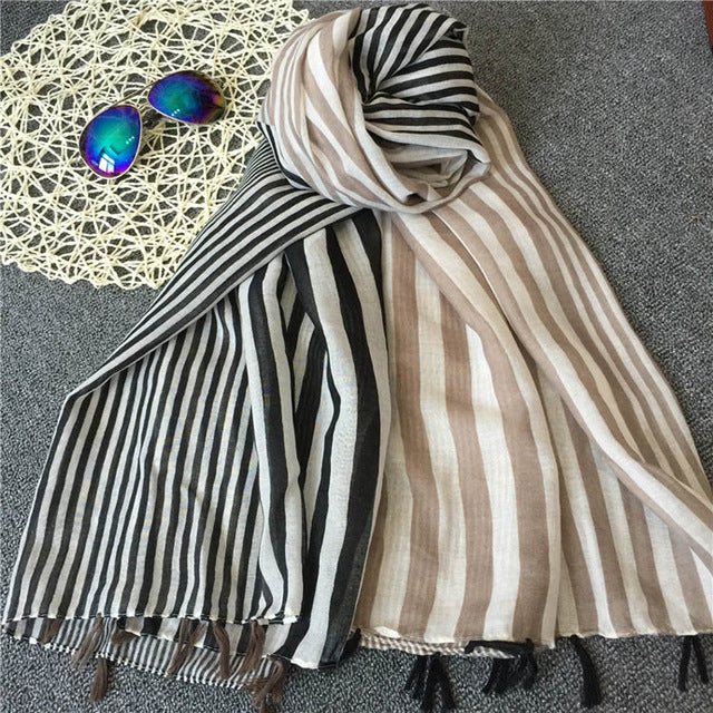 Marte&Joven Classic Black/Khaki Striped Scarf Shawls for Women Luxury Autumn Winter Big Size Warm Scarves Pashmina Muslim Hijab-JetSet-JetSet