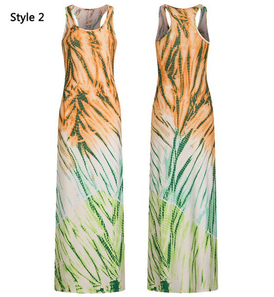Bohemian Floor Length Dress Women Long Summer Beach Dresses Boho Bodycon Sleeveless Maxi Dress 2018 Plus Size 3XL 4XL 5XL-JetSet-JetSet