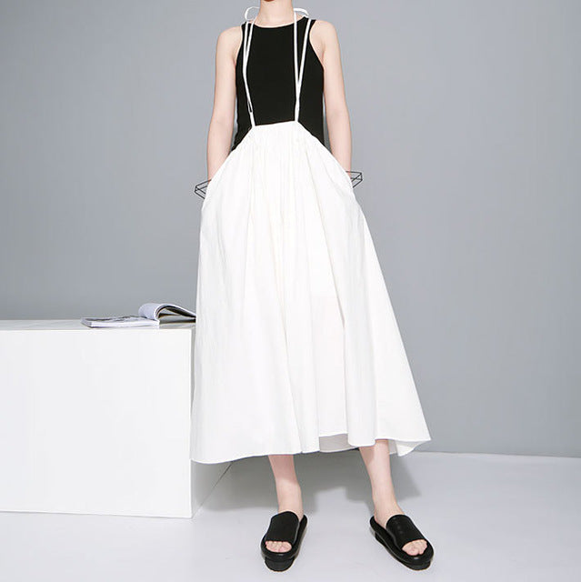 2019 Women Black Long Maxi Skirt Elastic Waist Pleated Infinite Skirt Convertible Girls Loose Casual Suspender Skirt 1388-JetSet-JetSet