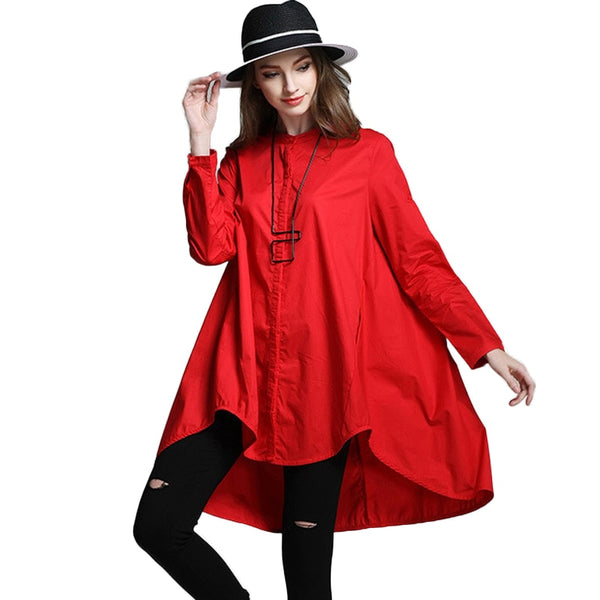 plus size women's asymmetrical long shirt black red A-line long sleeve loose blouse spring big size 4XL large size tops 1978LY-JetSet-JetSet