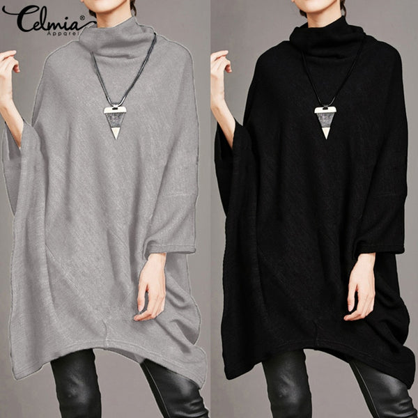Oversized Asymmetric Blouse 2018 Celmia Fashion Women Shirt Bawting Sleeve Turtleneck Casual Oversized Shirts Pullovers Blusas-JetSet-JetSet