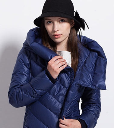 new womens winter coat hat thick large size black dark blue female down jackets-JetSet-JetSet