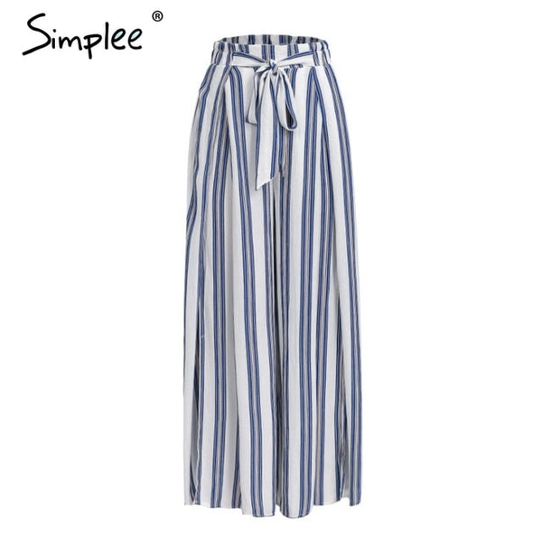 Simplee High waist loose striped summer pants plus size Sexy side split women pants Elastic cotton white wide leg trousers-JetSet-JetSet