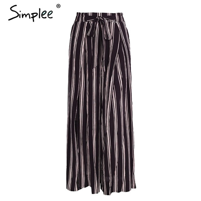 Simplee High split stripe wide leg pants women Summer beach high waist trousers Chic streetwear sash casual pants capris female-JetSet-JetSet