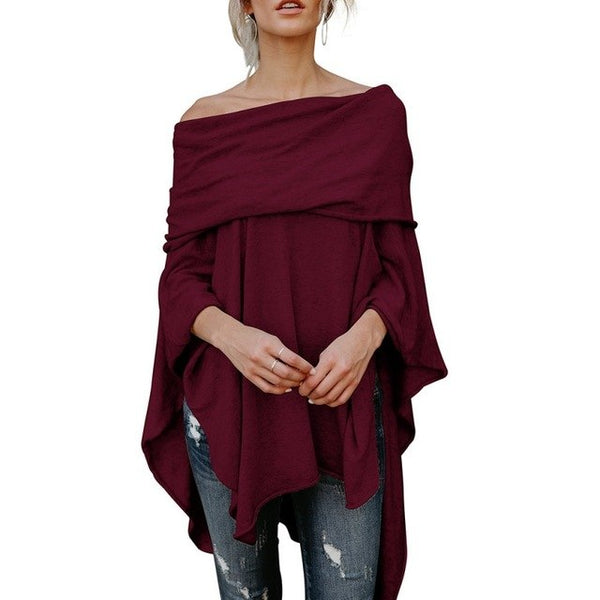 EFINNY Women Sexy French T-shirt Slash Neck Off Shoulder Tops Long Sleeve Casual Loose Shirt-JetSet-JetSet