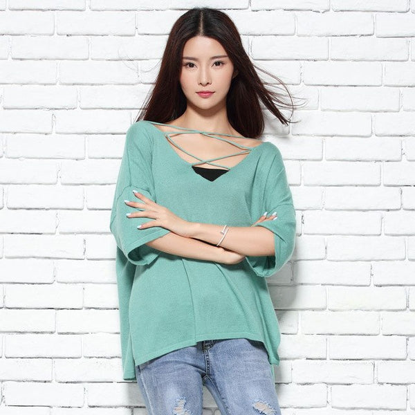 Women Cashmere Blend Sweaters 2018 Fincati Winter Spring Three Quarter Sleeve Double V Neck Blouse Slim Fashion Pull Femme Tops-JetSet-JetSet