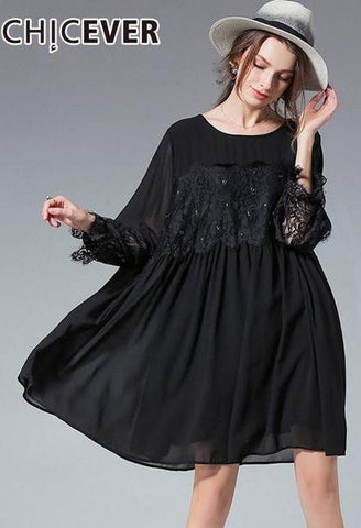 CHICEVER Black Lace Patchwork Dress Female Summer O Neck Batwing Sleeve High Waist Plus Size 5XL Long Dresses For Women Fashion-JetSet-JetSet
