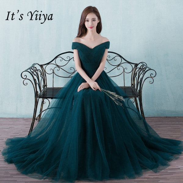 It's Yiiya bridesmaid dresses Elegant long wedding party dress Plus size royal blue bridesmaid dress Tulle Robe Soiree DSYA003-JetSet-JetSet