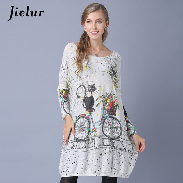 Jielur Winter New Slash Neck Women Sweaters and Pullovers Cute Cartoon Cat Printed Lady's Sweater Long Sleeve Knitwear 3 Colors-JetSet-JetSet