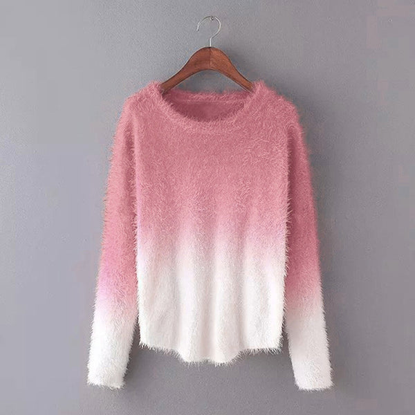 Irregular Loose Ladies Sweater Gradient Color Fuzzy Faux Mohair Sweater-JetSet-JetSet
