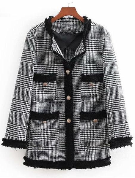 CHBBLF women vintage tweed plaid blazer pockets long sleeve coat female casual outerwear chic tops BGB8402-JetSet-JetSet