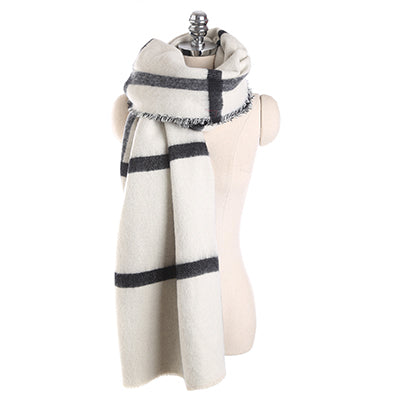 Women Winter Scarf Cashmere Pashmina Plaid Print Scarves Luxury Brand Large Shawl Thick Warm Echarpes Cape 200*80CM 3422-JetSet-JetSet