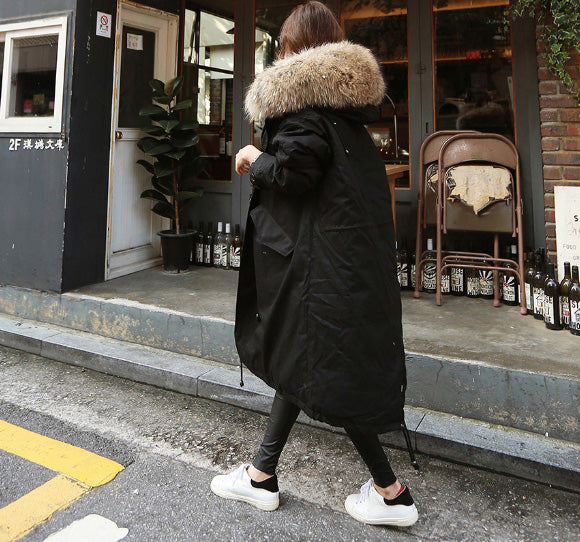 2018 Winter Long Cotton Jackets Fashion Big Fur Collar Thicken Warm Women Outwear Solid Loose Large Size Cotton Coat Female-JetSet-JetSet